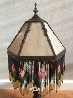 VINTAGE CARAMEL SLAG STAINED GLASS 6 PANEL LAMP SHADE WithBEADED FRINGE & FINIAL