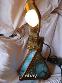 VINTAGE CAST IRON TABLE LAMP with PANEL STAINED GLASS SHADE