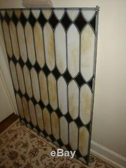 VINTAGE Custom Stained Glass Window Panel With Diamond Pattern 36 x 48 Excellent