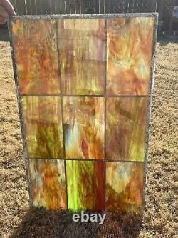 VINTAGE STAINED GLASS WINDOW PANEL 22 x 36 Stain Glass