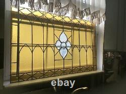 VINTAGE amber color STAINED GLASS WINDOW PANEL 31 1/2 x 19 1/2
