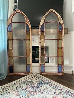 Victorian Antique Stained Glass Arch Window Church Panel