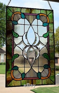 Victorian Design Beveled Stained Glass Window Panel