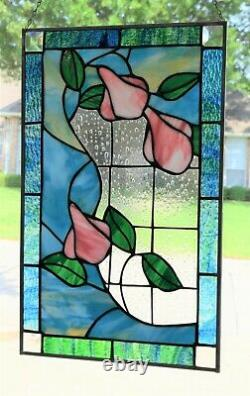 Victorian Flowers Stained Glass Window Panel