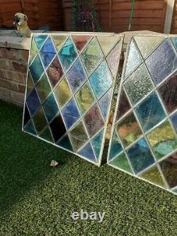 Victorian Leaded Stained Glass 3 Panels 55cms Square