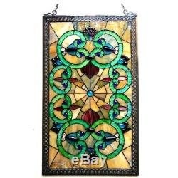 Victorian Stained Glass Hanging Window Panel Tiffany Style Home Decor