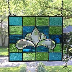 Victorian Style Stained Glass Window Beveled Panel Suncatcher, 10x12