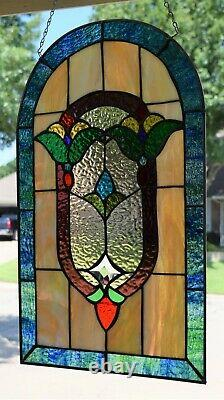Victorian Style Stained Glass Window Panel (13.5 x 23)