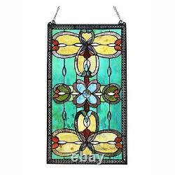 Victorian Theme Tiffany Style Stained Glass Window Panel Suncatcher 26x15