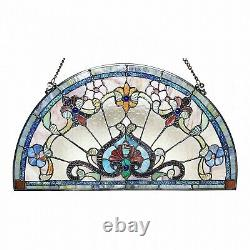 Victorian Tiffany Style Stained Glass Semi Circle Window Panel Sun Catcher Arch