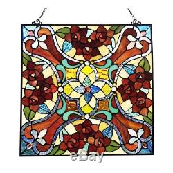 Victorian Tiffany Style Stained Glass Window Panel 20 W x 20 H Handcrafted