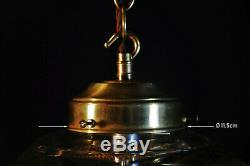 Vintage 1940s Art Deco brass stained panel Gilt glass Light house lantern light