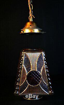 Vintage 1940s Art Deco bronze stained panel Gilt glass Light house lantern light