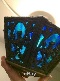 Vintage 8 Panel Lamp Shade Stained Glass Blue And Green brass ornate frame 10