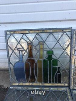 Vintage Apothecary Pharmacy Stained Glass Panels Set Of 4 With Medical Bottles