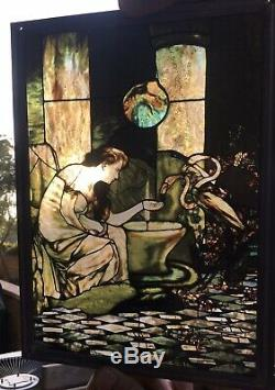 Vintage Art Nouveau Hand Painted Leaded Stained Glass Window Panel WOW