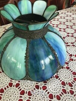 Vintage Blue/green Stained Slag Bent Glass 8 Panel Lampshade
