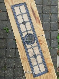 Vintage Coloured Stained Glass Panels English Victorian blue rare 8'x 37.5 pair
