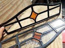Vintage Coloured Stained Glass Panels old orange art deco 6x17 rare pair
