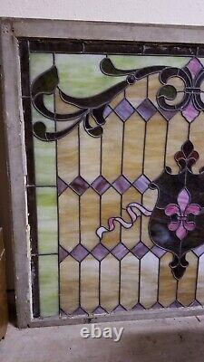 Vintage Fleur de Lis Stained Glass Window Panel 46 x 39