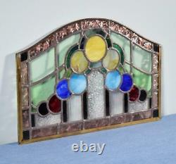 Vintage French Stained Glass Panel with Brass and Leaded Framing