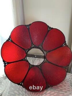 Vintage Hollywood Regency Panel Bent Slag Stained Glass Lamp Shade red tulip