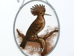 Vintage Hoopoe Bird Lead Lined Transfer Stained Glass Window Hanging Panel