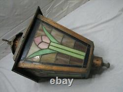 Vintage Leaded Stained Glass Tulip Panel Hanging Lamp Chandelier Ceiling Light