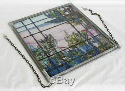 Vintage MMA Tiffany Stained Glass Window Panel View of Oyster Bay Pewter Frame