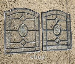 Vintage Pair Of Leaded Stained Glass Clear Floral Panels