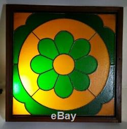 Vintage Set of 2 Hanging Framed Retro Mid Century Stained Glass Window Panels