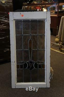 Vintage Stained Glass Leaded Window Panel Colorful Architectural Salvage Ships