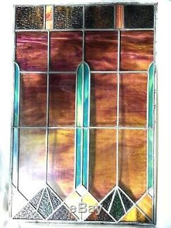Vintage Stained Glass Panel, Great Design, Great Condition 30 1/2 x 20 1/4