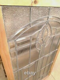 Vintage Stained Glass Side Light Window Panel Clr with beveled 29x50-1/2x1