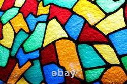 Vintage Stained Glass Style Fused Panel 1960s Church Window 59 x 19