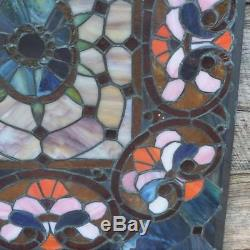 Vintage Stained Glass Victorian Design Tiffany Style Window Panel from Church
