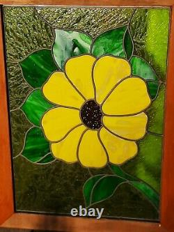 Vintage Stained Glass Window Panel 25 1/2 x 36 yellow flower