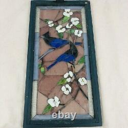 Vintage Stained Glass Window Panel Wood Framed Blue Birds Flowers 20.75 x 10.5