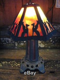 Vintage Stained Slag Leaded Glass Panel Lamp Marked P. H. (Poul Henningsen)