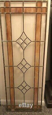 Vintage Stained Tortoise Shell Beveled Glass & Copper Window Panel 41