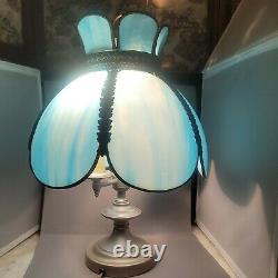 Vintage Tiffany Art Deco Blue Stained Slag Glass Lamp 6 Shade Panel