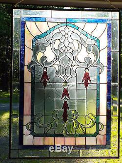 Vintage Tiffany Style Beveled Stained Glass Window Vitraux Panel 27 x 36 3/4