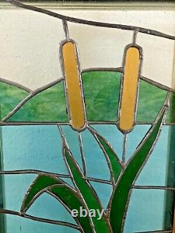 Vintage Tiffany Style Stained Glass Window Hanging Panel Cattails Framed