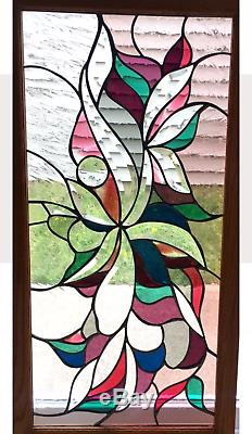 Vintage Victorian Design Window Panel 17W x 32L Tiffany Style Stained Glass