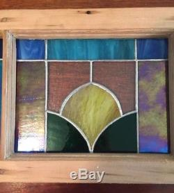 Vintage Window Frame With Stained Glass Panels