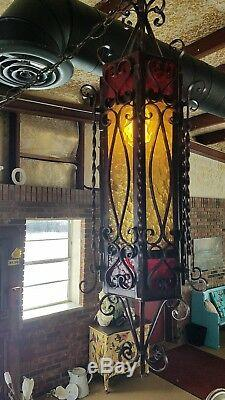 Vintage Wrought Iron Stained Glass Paneled Gothic Spanish Style Lamps 3 piece