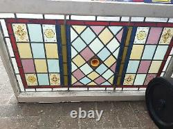 Vintage old Antique Coloured Stained Glass Panel Window fan light large 31x17