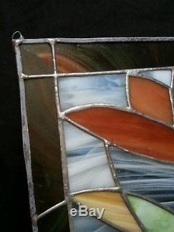 Vintage stained glass panel hanging 14.25