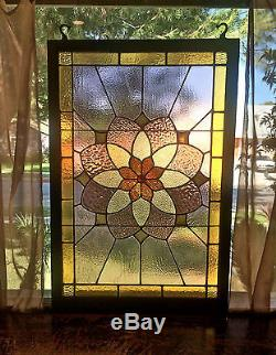 Vntg Large Wood Framed Stained Gl Panel Window Beauty