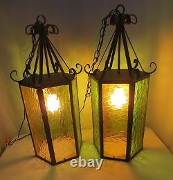 Vtg 25 Swag Hanging Light Wrought Iron & 6 panel stained glass Spanish style